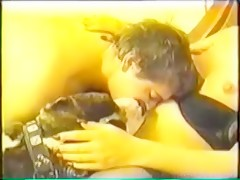 Pair does a home video with dog